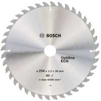 Пильный диск Bosch Optiline Eco 254×2,5×30 мм, 40 зубьев